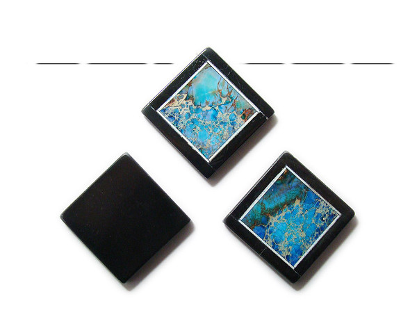 34x34mm Blue imperial jasper with black stone frame square pendant