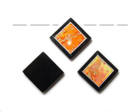 34x34mm Orange imperial jasper with black stone frame square pendant
