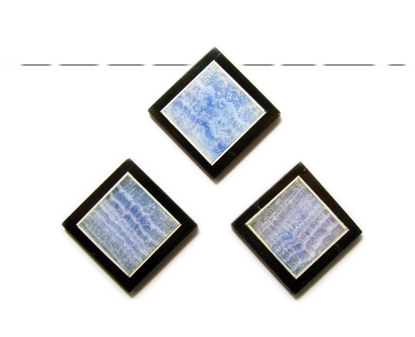 34x34mm Light blue quartz agate with black stone frame square pendant