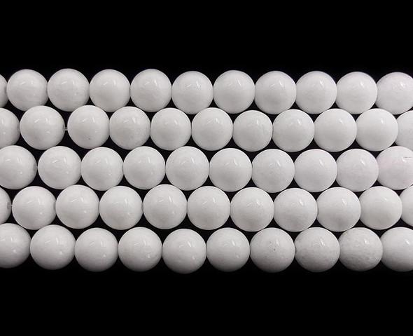 14mm White Jade Round Beads