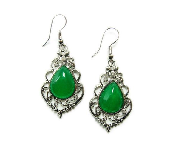 Green Malaysian jade teardrop earrings