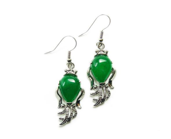 Green Malaysian jade fish style earrings