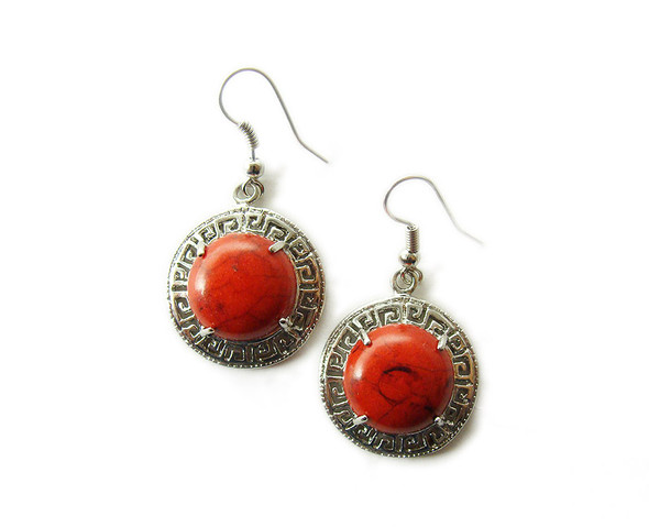 20mm Red howlite round circle earrings