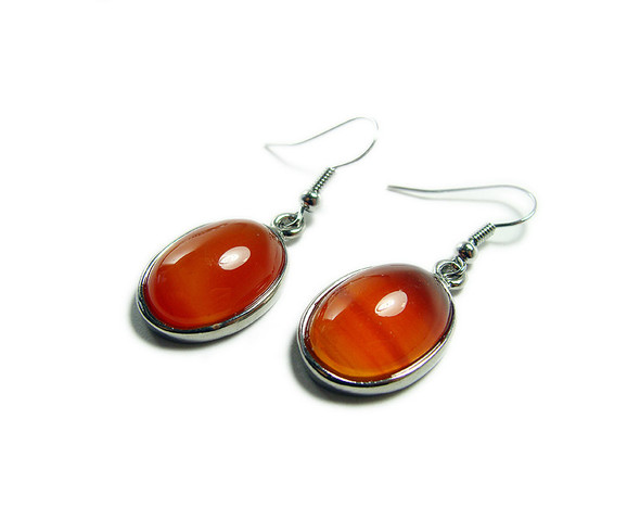 15x20mm Carnelian Oval Earrings With Silver Metal Frame