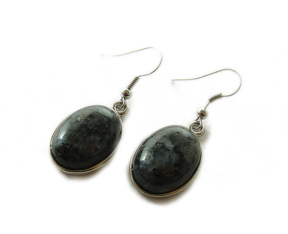 15x20mm Dark labradorite oval earrings with silver metal frame