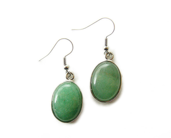 15x20mm Green aventurine oval earrings with silver metal frame