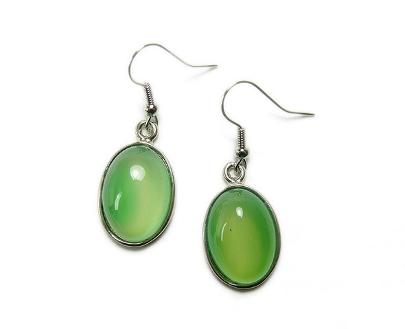 15x20mm Green agate oval earrings with silver metal frame