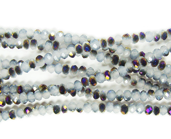 2x3mm  for 5 strands Gray glass faceted rondelles with purple AB finish