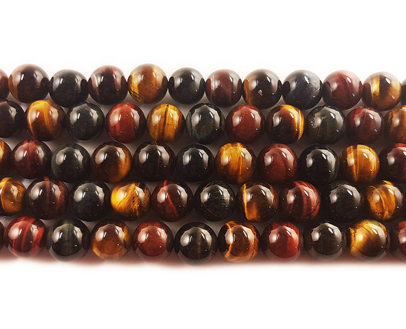 10mm 15.5 Inches Multi Tiger Eye Round Beads