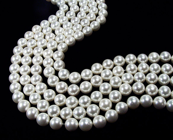 "6mm  16"" strand White shell pearl round beads"