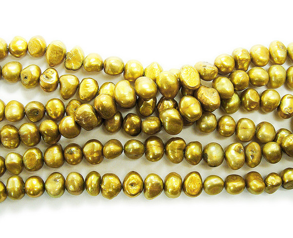 6-8mm 15 Inch Strand Bronze Brown Nugget Pearls
