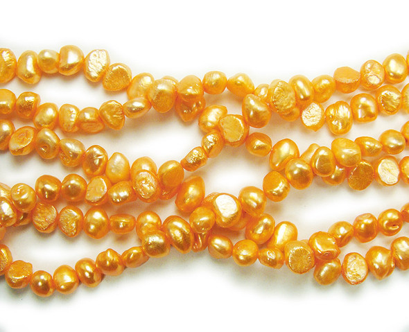 6-8mm 15 Inch Strand Orange Nugget Pearls