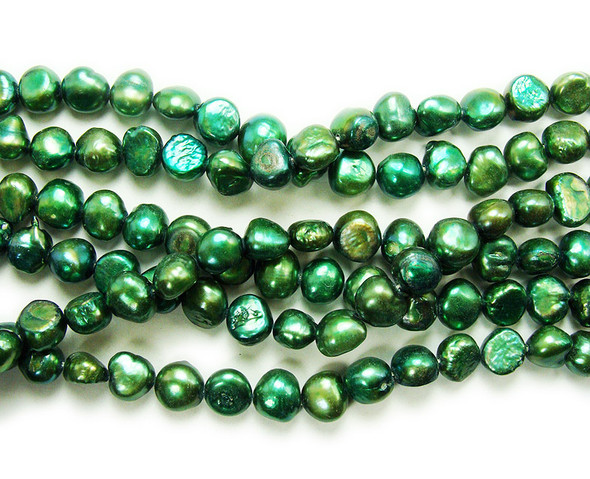 8-10mm  15 inch strand Dark green nugget pearls