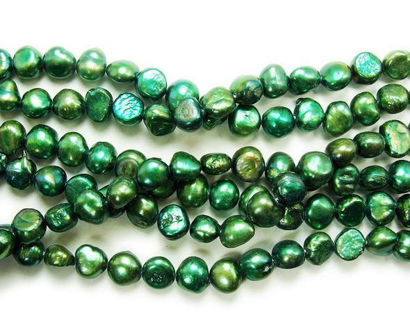 8-10mm 15 Inch Strand Dark Green Nugget Pearls