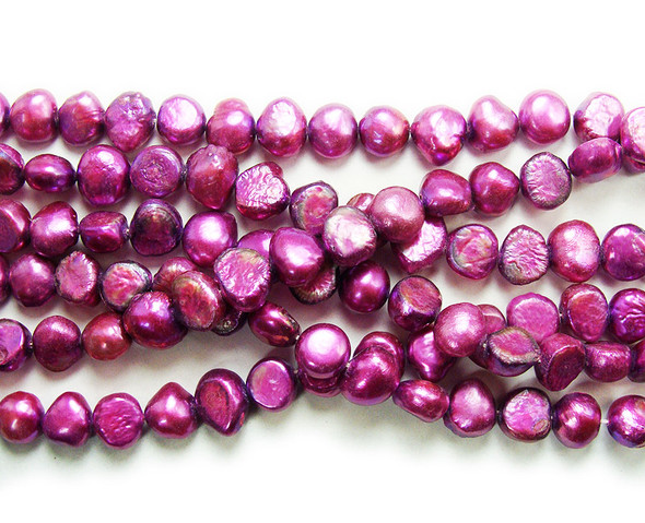 6-8mm 15 Inch Strand Pink Magenta Nugget Pearls