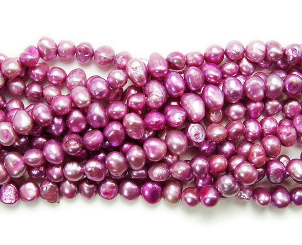 6-7mm 15 Inch Strand Purple Lavender Nugget Pearls