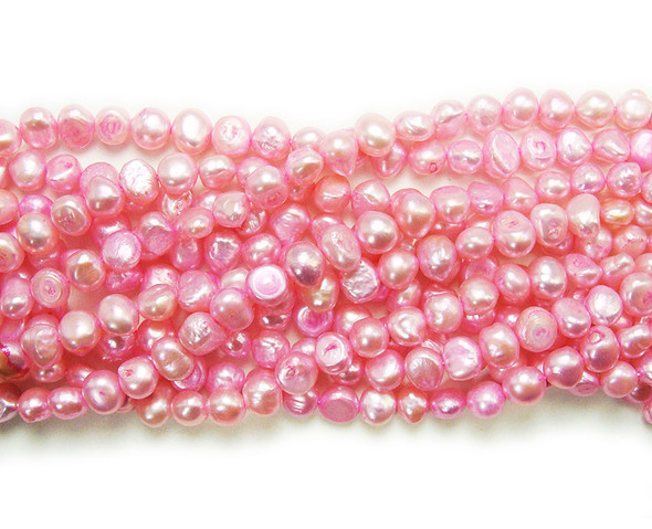 6-7mm 15 Inch Strand Bright Pink Nugget Pearls