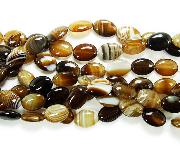 13x18mm Brown Striped Agate Puffed Oval Beads. 21 Beads Per Strand.