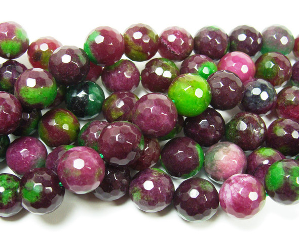 12mm Dark red and green jade faceted round beads