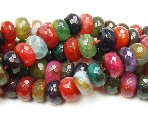 6x10mm Multicolor Agate (Tourmaline Colored ) Faceted Rondelles Beads