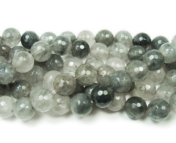 6mm 15.5 Inches Cloud Grey Quartz Faceted Round Beads