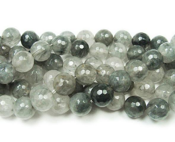 10mm Cloud Grey Quartz Faceted Round Beads
