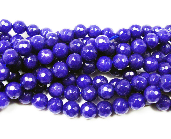 4mm Lapis blue faceted jade round beads