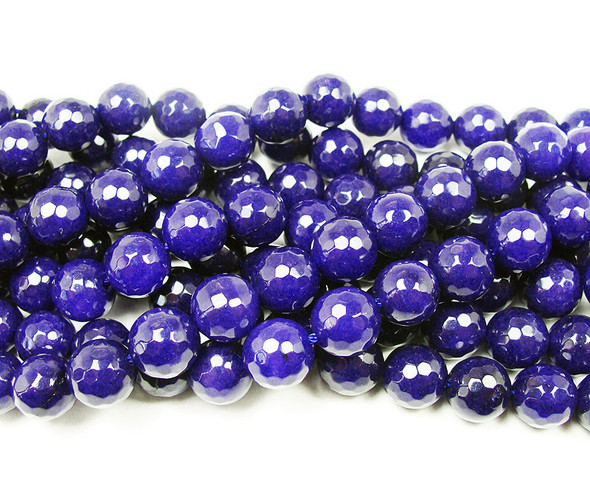 12mm Lapis blue jade faceted round beads