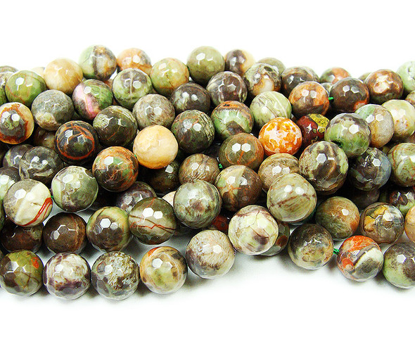 10mm Rhyolite Agate Faceted Round Beads