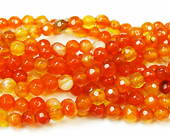 4mm  15.5 inch strand Bright red agate faceted round beads