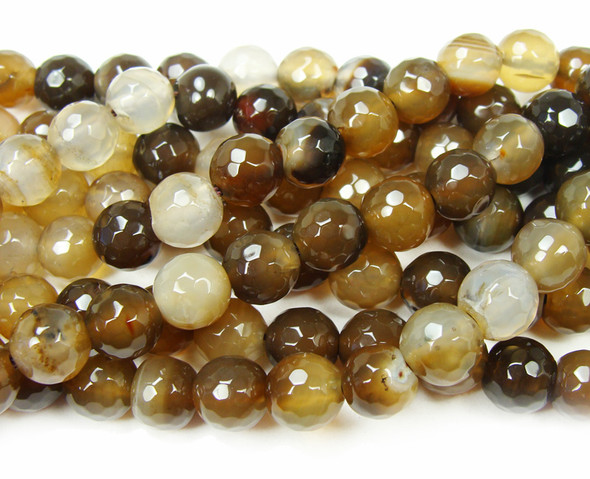 10mm 15.5 Inch Strand Brown Agate Faceted Round Beads