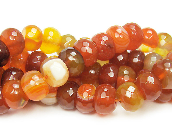 7x10mm Red Agate Striped Faceted Rondelle Beads