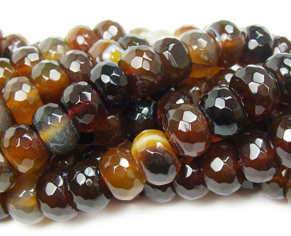 5x8mm  Dark brown striped agate faceted rondelle beads