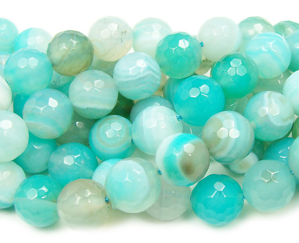 6mm  about 60 beads Light aqua striped agate faceted round beads