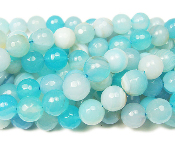 10mm  about 37 beads Light aqua striped agate faceted round beads