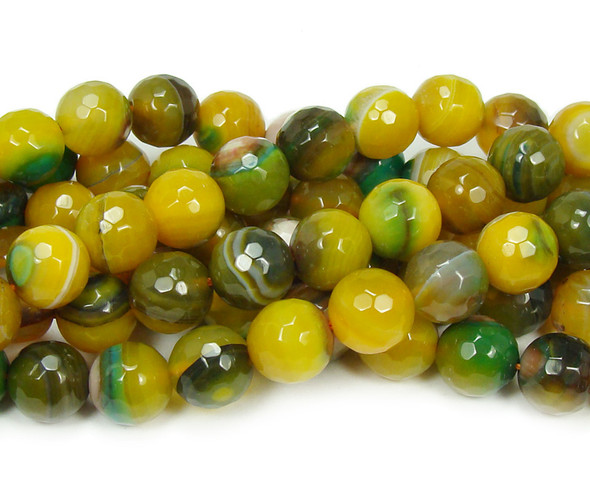 10mm  about 37 beads Green and yellow striped agate faceted round beads