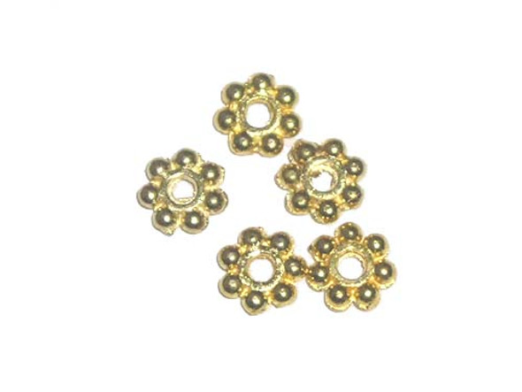 6mm  approx. 100 beads Gold-plated daisy beads