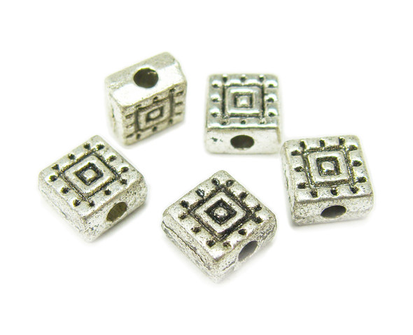 6x6mm Pack Of 30 Bali Style Pewter Flat Square Beads