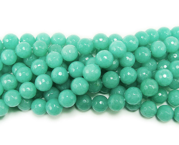 12mm Green amazonite-colored jade faceted round beads