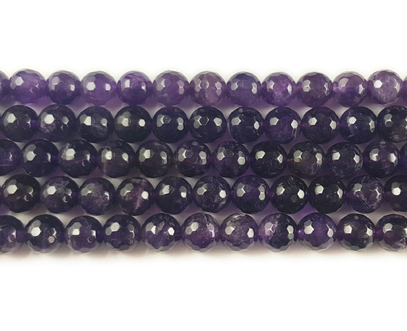 10mm Amethyst Faceted Round Beads