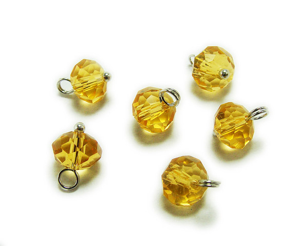 6x8mm bead  pack of 20 Citrine yellow faceted glass rondelle hangers