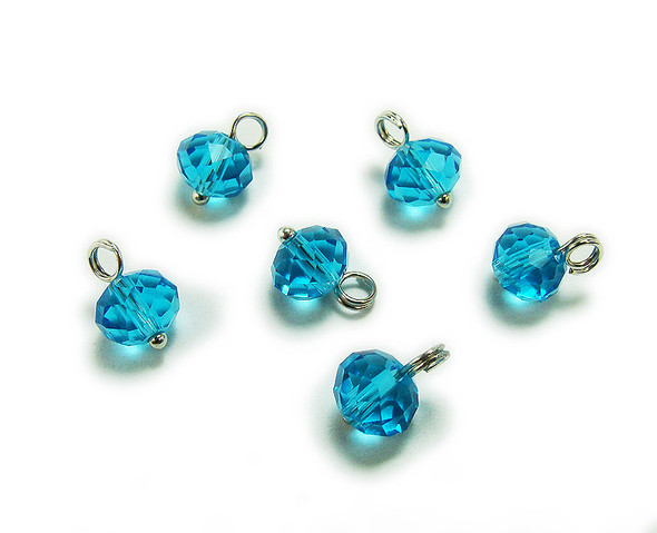 6x8mm bead  pack of 20 Sea blue faceted glass rondelle hangers