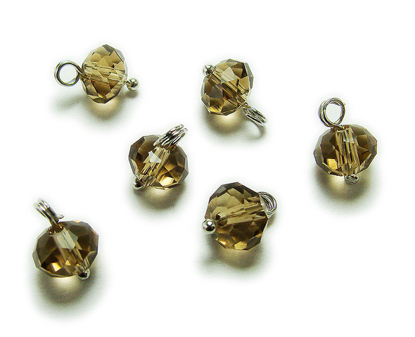 6x8mm bead  pack of 20 Smoky faceted glass rondelle hangers