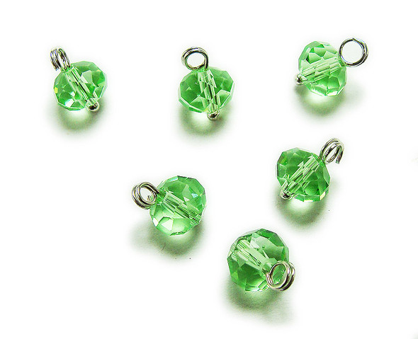 6x8mm bead  pack of 20 Spring green faceted glass rondelle hangers
