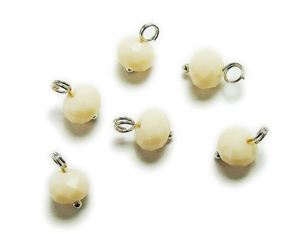 6x8mm bead  pack of 20 Vanilla white faceted glass rondelle hangers