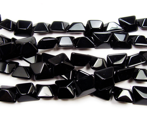 14x16mm  12 inches Black glass faceted nugget beads