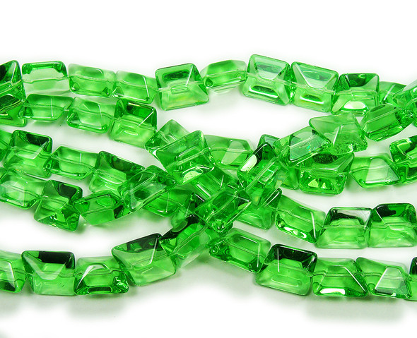14x16mm  12 inches Spring green clear glass faceted nugget beads