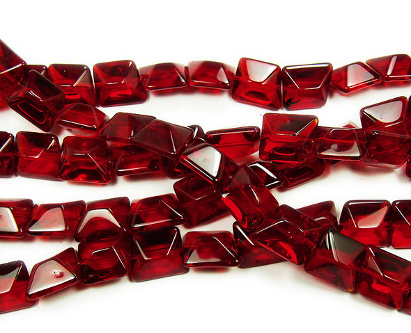 14x16mm  12 inches Dark ruby red glass faceted nugget beads