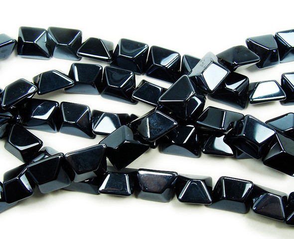 14x16mm  12 inches Metallic gunmetal gray glass faceted nugget beads