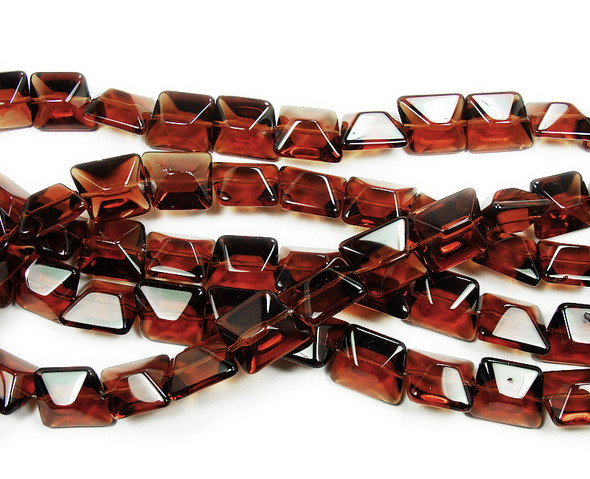 14x16mm  12 inches Burnt umber brown glass faceted nugget beads